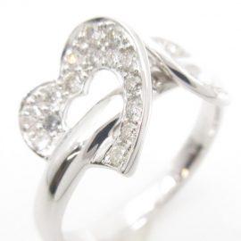 【あべの店】K18WG ハート ダイヤモンドリング