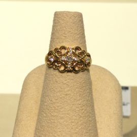 【あべの店】K18YG クロス ダイヤモンドリング